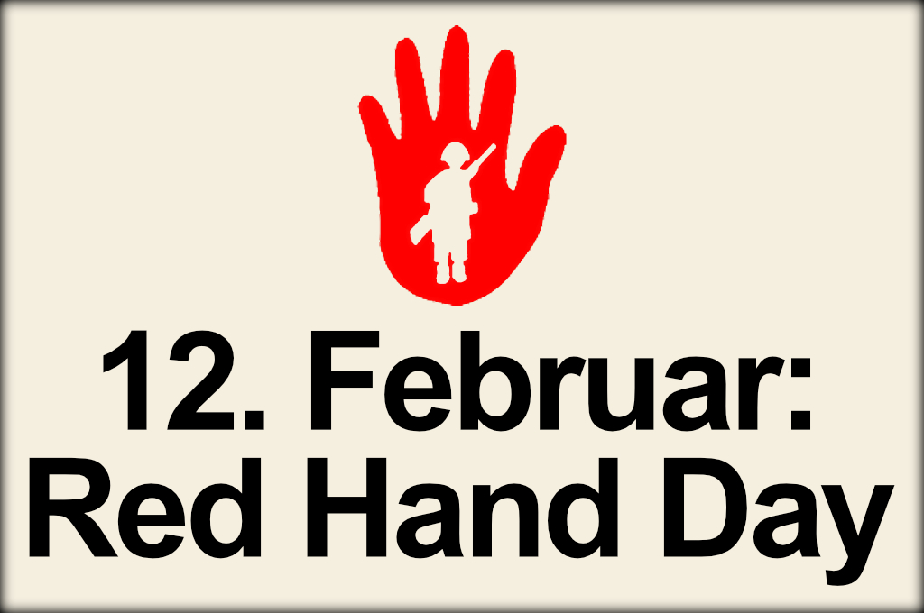 Red Hand Day 2021, Aktionstag am 12. Februar gegen den Einsatz von Kindersoldat:innen